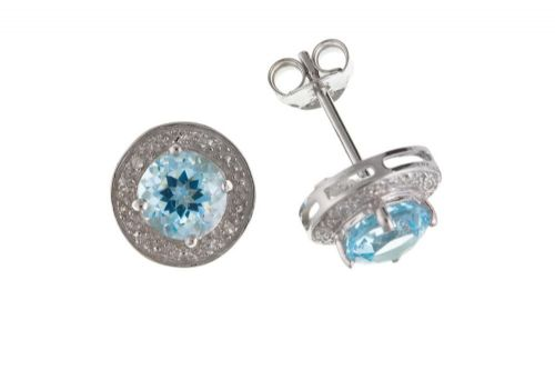 Blue Topaz  Sterling Silver Diamond Set Earrings BP0425
